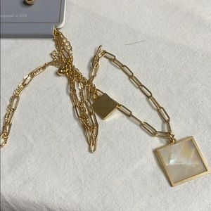 """Gold Double Necklace 10"""" 12"""" with gold earrings"""